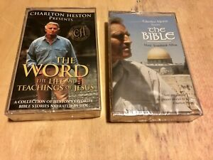 Lot-Of-2-Charlton-Heston-Cassette-Tapes-The-Bible-Music-Soundtrack-The-Word-BN