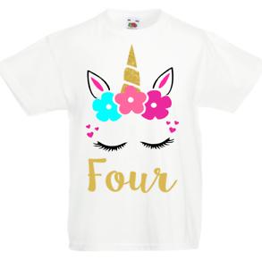 Image Is Loading Personalised Unicorn Girls T Shirt Birthday