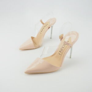 77770c19552 Image is loading Nude-Patent-Leather-Asymmetrical-Pointy-Toe-Slingback-Clear -