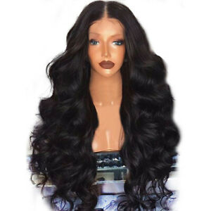 Black-Synthetic-Wig-Natural-Looking-Long-Curly-Wavy-Middle-Side-Parting-Wig-Hair