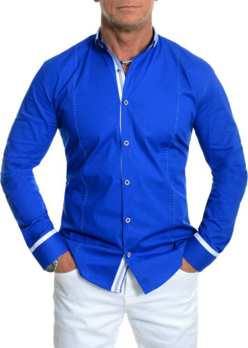 Men/'s Casual Format Shirt Grandad Band Collar Cotton White Royal Blue Slim Fit