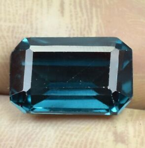 9-55-Ct-Natural-Indicolite-Blue-Green-Tourmaline-Emerald-Cut-Loose-Gem-Certified