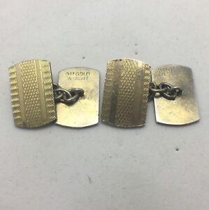 ART-DECO-9-CARAT-GOLD-ON-SILVER-HALLMARKED-BRIGHT-CUT-ENGRAVED-MEN-039-S-CUFFLINKS