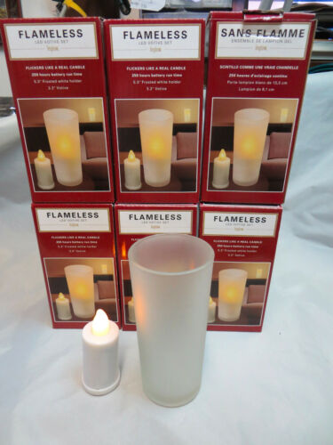"""LOT OF 5 INGLOW CG10060WH FLAMELESS FROSTED WHITE 5/""""TALL HOLDER W 3/""""TALL VOTIVES"""