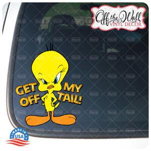 Tweety-Bird-034-Get-Off-My-Tail-034-Vinyl-Decal-Sticker-for-Cars-Trucks-GOMT2