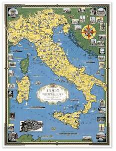 Color Map Of Italy W Vatican City Circa 1944 24 X 32 Europe