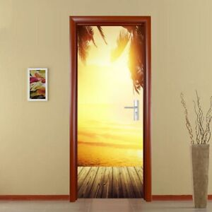 3d Door Mural Art Sticker Removable Self Adhesive Wall Decals Home Decor Sunset Ebay