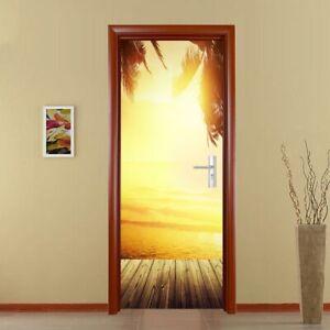 3D Removable Door Stickers Waterproof Wall Decals DIY Home Decor Sunset NEW