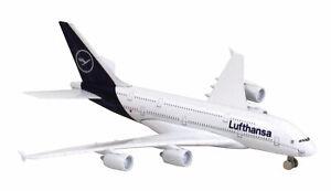 Lufthansa-Airbus-A380-Spielzeugflugzeug-15cm-lang-16cm-breit-LTDLH005-Limox-Toys