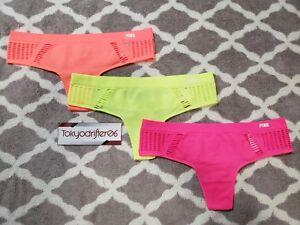 2a9e6c24bc1 3x XS Victoria s Secret PINK Seamless Macrame Thong Panty Lot Neon ...