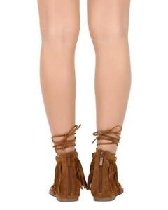074926244 New Women Breckelles Stacy-91 Suede Fringe Thong Zip Gladiator Wrap ...