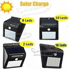 2-16 LED Solar Power Motion Sensor Outdoor Waterproof Garden Security Lamp Light
