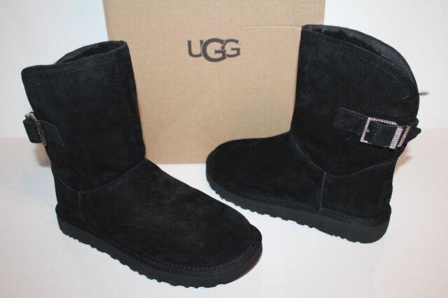 723155398c3 UGG Australia Remora Crystal Buckle Boot Short 1092709 Black Sheepskin Size  9