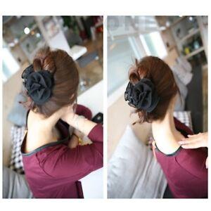 Women-Chiffon-Rose-Flower-Korean-Hair-Claw-Headwear-Barrette-Bow-Jaw-Clip