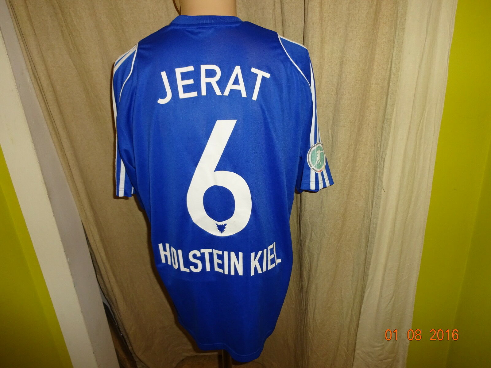 Holstein Kiel Adidas Heim Matchworn Trikot 2008 09  famila  + Nr.6 Jerat Gr.L    Zu einem erschwinglichen Preis