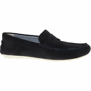 ARMANI-JEANS-Mens-Blue-Suede-Leather-Loafers-Size-UK-8