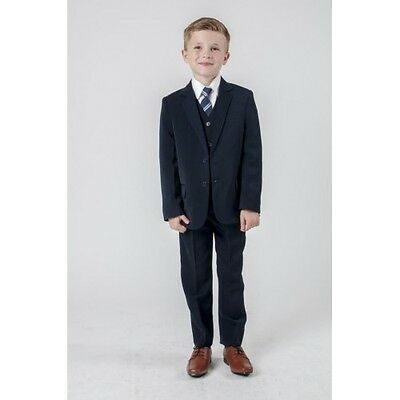 Boys Black Pinstripe Jasper Suit 7y