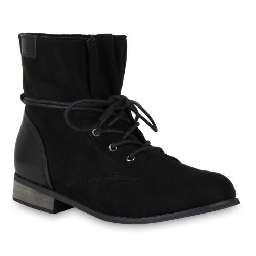 Damen Stiefeletten Schnürstiefeletten Holzoptikabsatz 818073 Schuhe