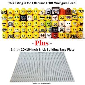 1-LEGO-Minifigure-Head-PLUS-1-Grey-10x10-inch-32x32-stud-compatible-base-plate