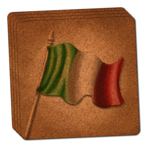 Vintage Italian Flag Italy Thin Cork Coaster Set of 4