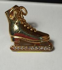 Vintage Avon Gold Tone Ice Skate Pinback With Rhinestones Gift Collectible