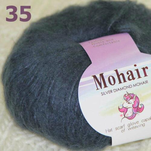 Sale New 1BallsX25g Luxury Soft Mohair Warm Wrap Shawl Hand Knit Crochet Yarn 14