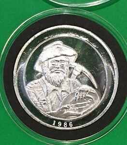 1986 Prospector California Coin Precious Metals 1 Troy Oz .999 Fine Silver Round