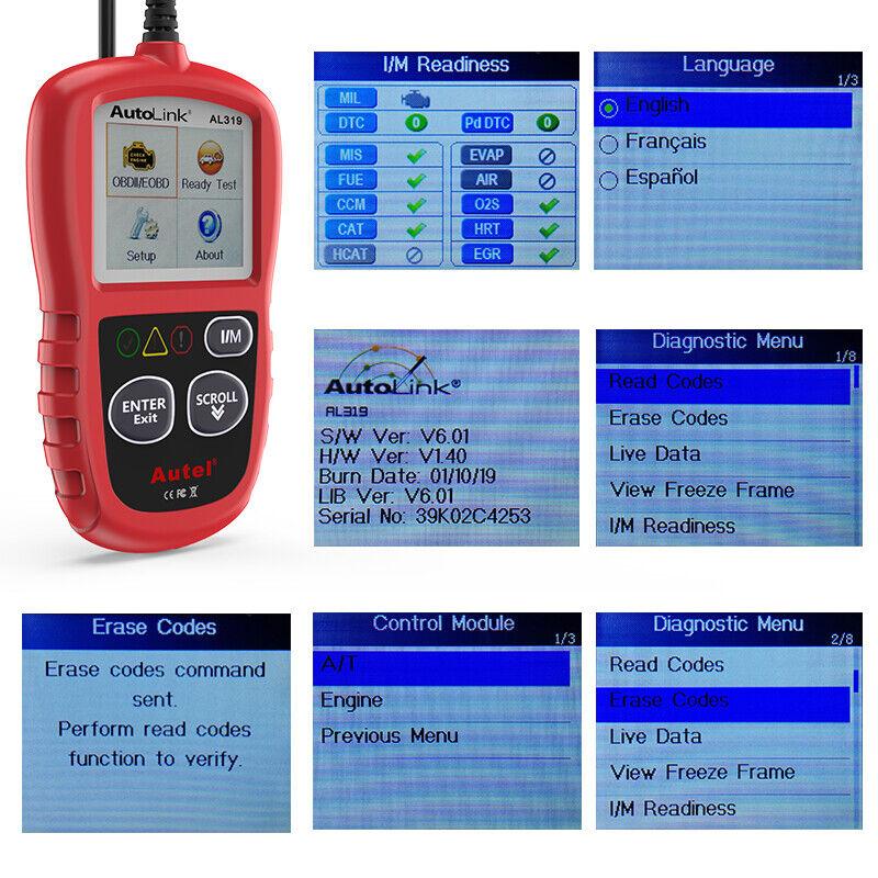 Autel Autolink AL319 OBD2 CAN OBDII Auto Car Code Reader Diagnostic Scanner Tool 9