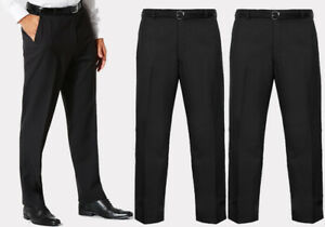 mens big plus size trousers black casual formal work