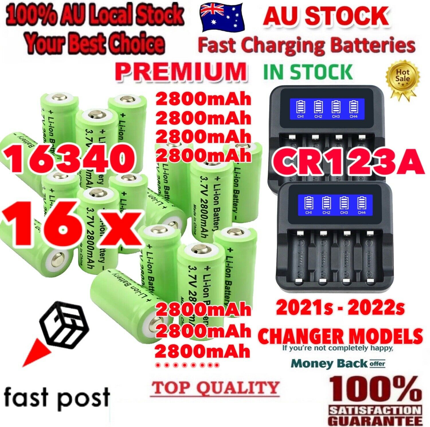 16PC 2800mAh 16340 CR123A 3.7V Rechargeable Battery + 2PC x USB Charger for Arlo
