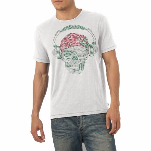 Twisted Envy Homme Strass Pirate Crâne avec Casque Strass T-Shirt