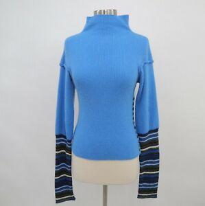 D-amp-G-Dolce-amp-Gabbana-Pullover-Sweater-Womens-XS-Knit-Blue-Striped-Buttons-Angora
