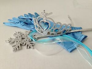 Disney/'s Frozen Princess Elsa Accessories Set Tiara Gloves Crown Hair Piece Wand