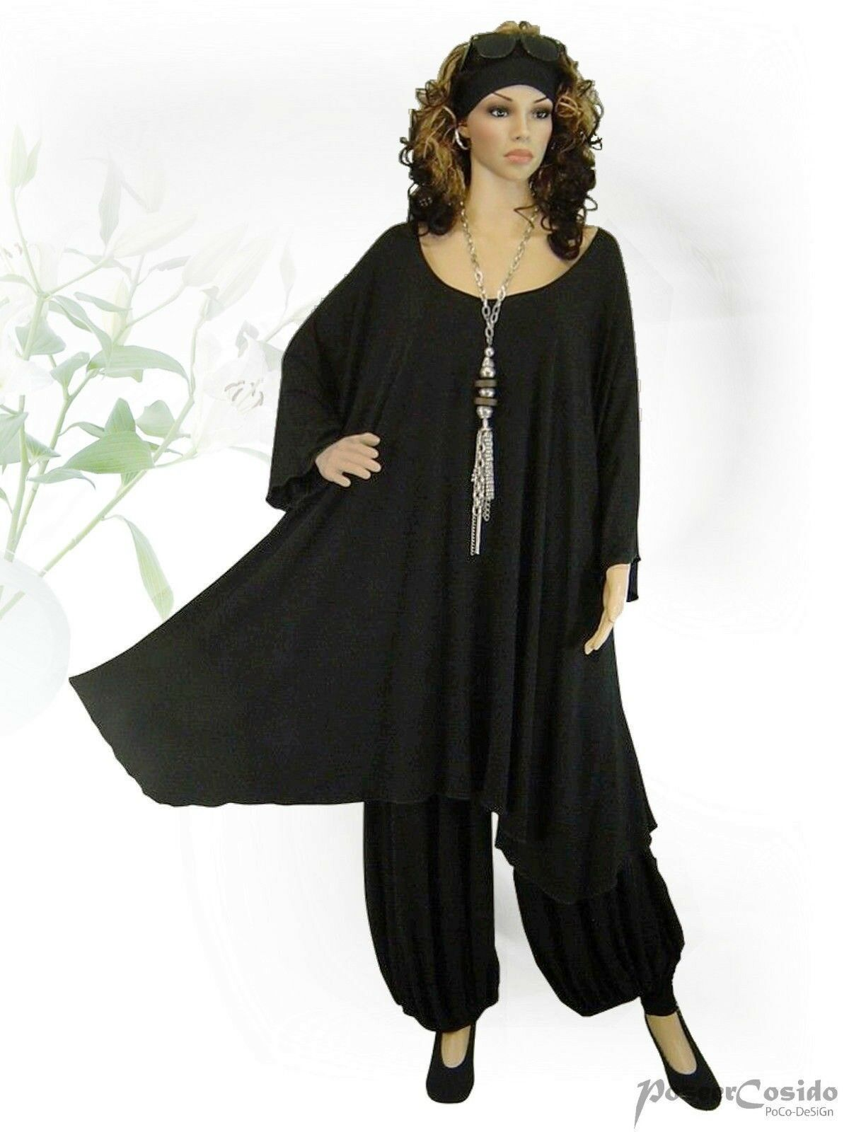 PoCo DeSiGn° LAGENLOOK BASIC Tunika Long-Shirt Überwurf XXL XXXL 56 58 60 62 64