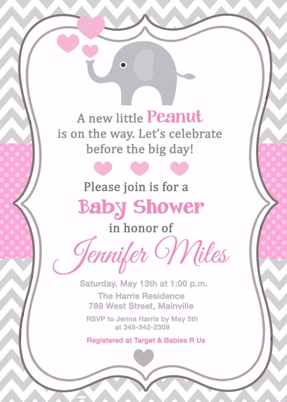 Elephant Baby Shower Grau Invitation Girl Rosa Grau Shower 0f7378
