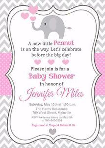 Elephant Baby Shower Invitation Girl Pink Grey Ebay