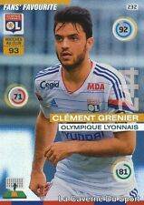 232 CLEMENT GRENIER FRANCE OL LYON FAN'S CARD ADRENALYN 2016 PANINI