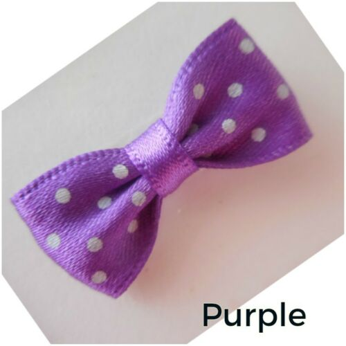 Polka Dot Ribbon Bows Mini Bow Tie no Clip 3cm x 1.5cm-Handmade- Embellishment
