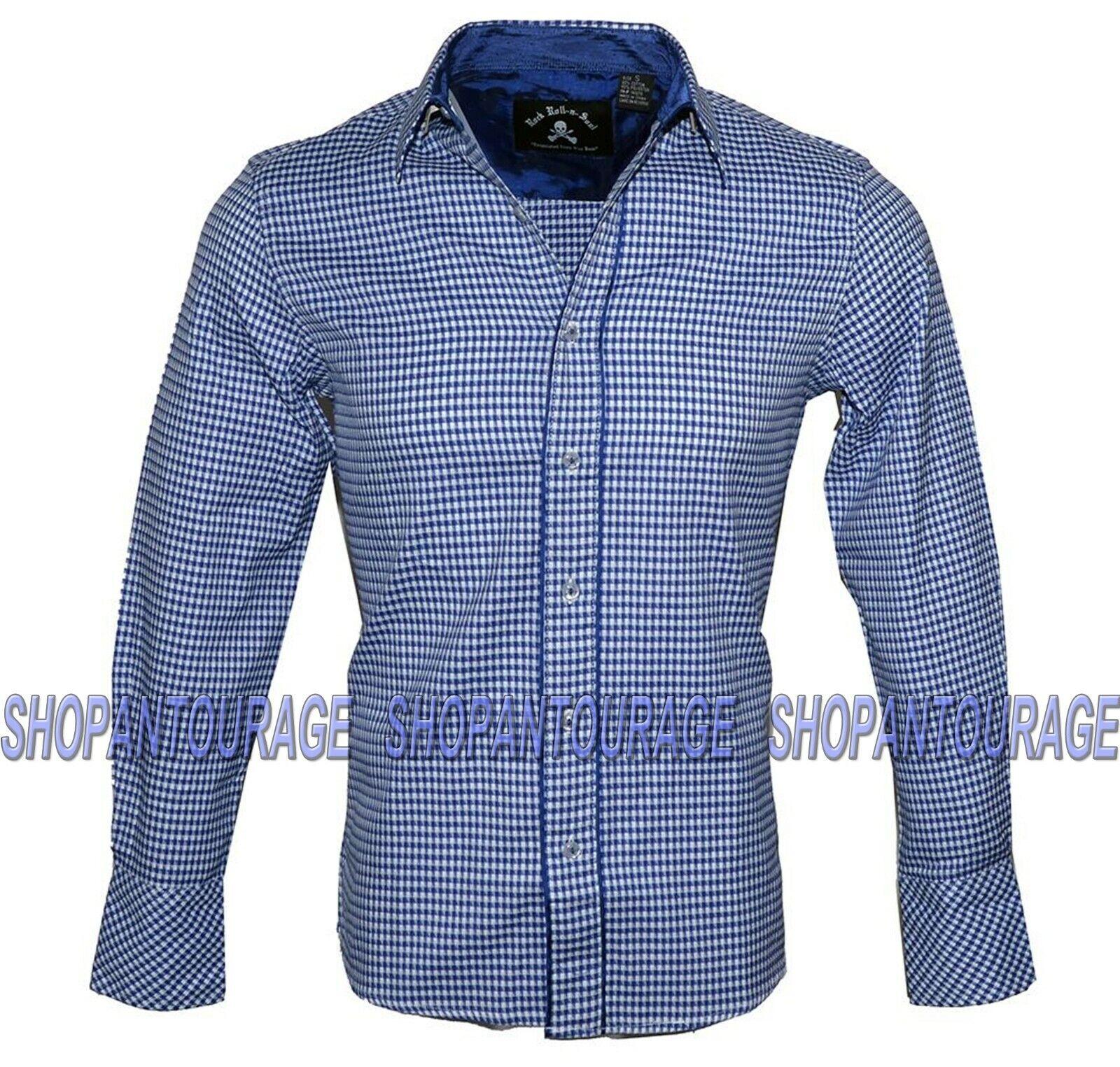 English Heroes EHW112 Long Sleeve Button Down bluee Fashion Woven Shirt for Men