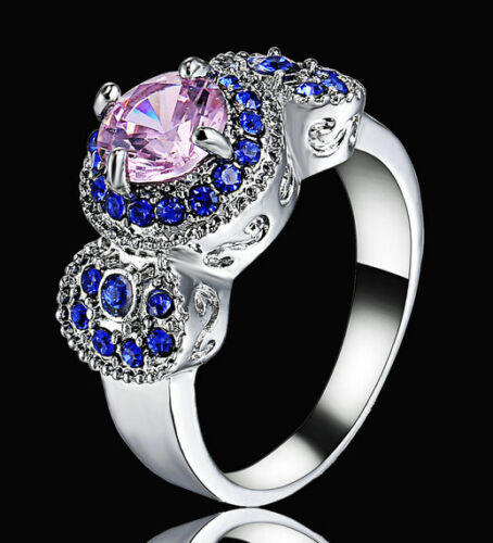 2016 Lady//Women/'s Jewelry Silver Filled Pink Sapphire Wedding Ring Gift size 8