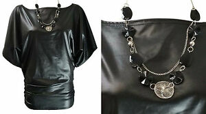 NEW-WOMENS-BLACK-PVC-WET-LEATHER-LOOK-SHORT-BATWING-SLEEVE-TUNIC-TOP-SIZE-8-14