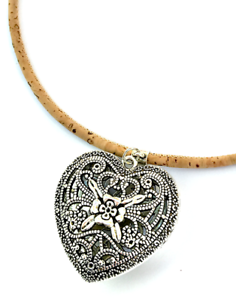 Natural Eco Vegan Necklace Pendant Braided Turquoise Cork Heart Pendant