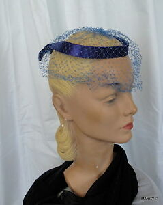 Details about Chic Vintage 50 s 60 s Stiff Blue Ring Fascinator Hat W Veil  One Size ebfdfeff9e1