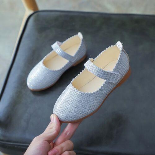 Toddler Children Kid Girls Shoes Bling Wave Formal Princess Student Single Shoes