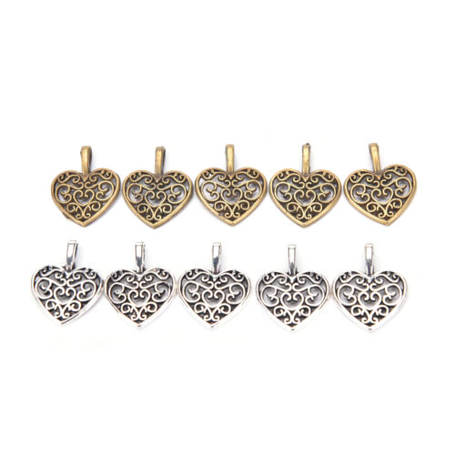50 Pcs Tibetan Silver Bronze Filigree Heart Charms Pendant DIY Jewelry MakiBLUS