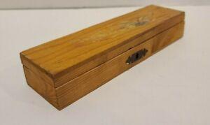 Vintage-Folk-Art-Keepsake-Pencil-Pen-Box-Chest-Wood-Floral-Flower-Stash-Ring-Old