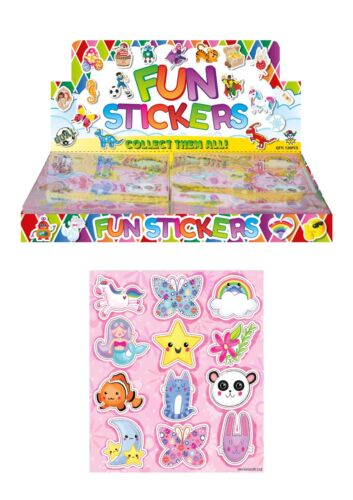 12 Sheets CUTE ANIMAL Stickers Girls Boys Party Bag Fillers Kids Craft Toys