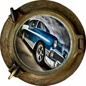 Huge-3D-Porthole-Muscle-Car-View-Wall-Stickers-Film-Mural-Decal-Wallpaper-352