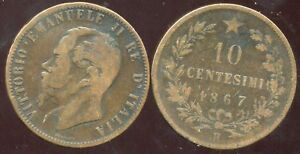 ITALY ITALIE 10 centesimi 1867 H ( etat ) - France - Year: 1867 Circulated//Uncirculated: Circulated Composition: Bronze Country//Region of Manufacture: Italy Country/Region of Manufacture: Italy - France