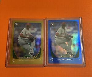 2011-Bowman-Chrome-Aroldis-Chapman-RC-Gold-and-Blue-Refractor-Lot-50-150